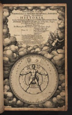 Fludd, Robert. 1617. Utriusque cosmi ... Title page. This engraved title page shows macrocosm and microcosm with a human male at the center.