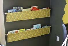 book holders. This would work nicely ont he walls by my kids bunk beds