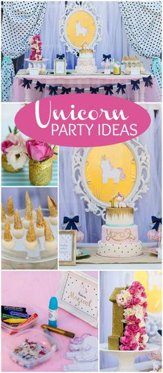 Love this 1st birthday in pink, green and gold featuring unicorns! See more party ideas CatchMyParty.com!