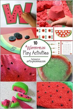 Watermelon Activities for Kids. Great ideas for summer learning! Watermelon Activities, Watermelon Crafts, Summer Activities For Kids, Summer Preschool Themes, Summer Themes, Fruit Crafts, Preschool Ideas, Kindergarten Activities, Infant Activities