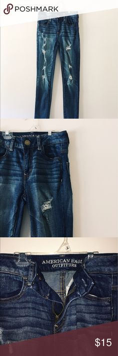 """AEO ripped high-waisted skinny jeans. Dark-wash jeans from American Eagle. Ripped down the front thighs. One tiny rip on back pocket. """"Hi-rise jeggings"""" in size 00. American Eagle Outfitters Jeans Skinny"""