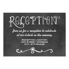 Charming chalkboard wedding reception cards for a casual chic occasion feature handwritten style fonts and scroll designs that have a white chalk appearance on a background that has a rustic black board textured appearance. Whimsical Wedding Invitations, Chalkboard Wedding Invitations, Black And White Wedding Invitations, Rustic Invitations, Wedding Invitation Design, Invitation Cards, Invites, Wedding Black, Wedding Rustic