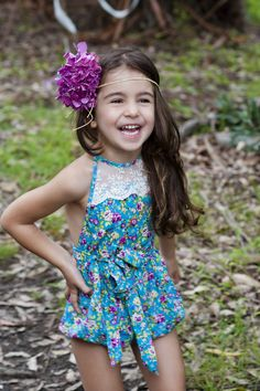 ju ju Creations - 'Audrey' Playsuit in Sophia Print Little Girl Outfits, Little Girl Fashion, Toddler Fashion, Toddler Outfits, Kids Outfits, Kids Fashion, Fashion Line, Dance Outfits, Kids Wear