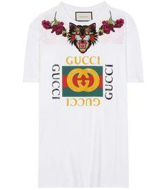 9d959131dbecf Gucci - Appliquéd Distressed Printed Cotton-jersey T-shirt - White -
