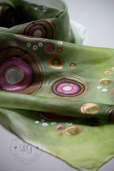 Šály - kruhy zeleno ružovée - 4979630_