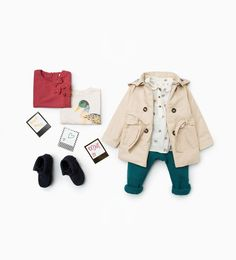 Zara Little Girls Trench Coat with Hood, trousers and Hedgehog Shirt