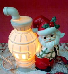Vintage Christmas Santa Claus And Furnace Night Light By Lefton