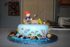 Fishing themed birthday cake — Birthday Cake Photos