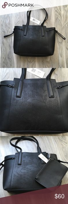 """French Connection Black Floral large Tote NWT French Connection Black Floral Tote. Comes with attached zipper pouch that's is about 5.75""""x8.5"""". Bag measures 14""""x 5"""" at bottom but expands out a bit at the top. Sides can cinch closed. French Connection Bags Totes"""