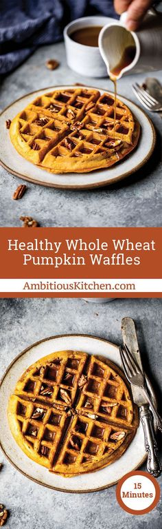 Freezer friendly healthy pumpkin waffles with cozy spices + a touch of maple syrup. These fluffy waffles will be your go-to fall breakfast. Baked Breakfast Recipes, Healthy Breakfast Options, Breakfast Waffles, Fall Breakfast, Pancakes And Waffles, Fluffy Waffles, Brunch Recipes, Breakfast Ideas, Second Breakfast