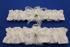 White  Satin Wedding Garter Set with Green Four Leaf by StarBridal