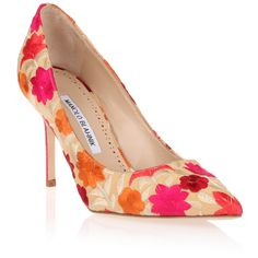 Manolo Blahnik bb90 Beige Flower Embroidered Pump ($625) ❤ liked on Polyvore featuring shoes, pumps, beige, pointed toe stilettos, pointed toe pumps, beige pointy toe pumps, high heel pumps and stiletto pumps