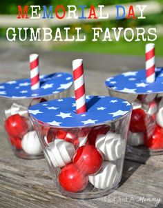 free Memorial Day gumball favor cup topper