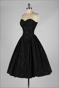 1950's Fred Perlberg Black Beaded Dress