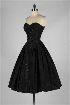 1950's Fred Perlberg Black Beaded Dress I love it so much it hurts D: