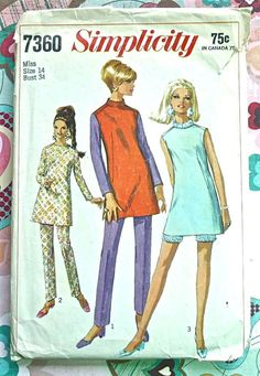 Simplicity 7360 Vintage 1960s Womens Mini Dress by Fragolina, $6.50