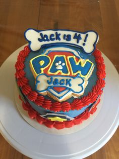 Paw patrol smash cake with matching cupcakes and cookie party favors. All personalized for a little boy birthday party! I can ship cookies nationally through my etsy shop.