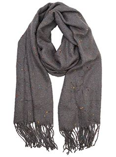 """S-726-21 Confetti Tassel Scarf - Grey. GREAT LOOK: This fun, versatile scarf has a cute multicolor confetti dot design that will complement women of all ages. Pair it with long or short sleeves, sweaters or skirts, jeans or dress pants. Looks great with perfectly styled hair, but also use it to dress up on a bad hair day. GREAT FIT: One size fits most. This women's scarf measures 77"""" x 24"""" (plus 5"""" tassels) laid out flat. Unlike an infinity scarf or a tube scarf, wear this scarf multiple…"""