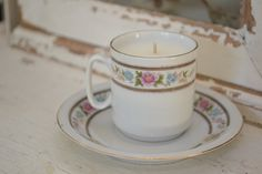 Candle in Tiny Vintage Tea cup w/ saucer. $10.00, via Etsy. #shopellion