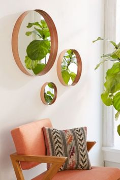 This Averly Circle Mirror is a great accent piece for a living room! Home decor ideas for common area rooms. Living Room Decor, Bedroom Decor, Wall Decor, Master Bedroom, Wall Art, Mirrors Urban Outfitters, Copper Mirror, Copper Bathroom, Copper Wall