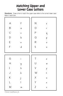match lowercase upper case alphabet  | Matching Upper and Lower Case Letters - Students will match ...