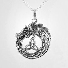 Through magic, Odin spun the heavens around Veraldar Nagli or the World Spike.Legend says that similar Viking Medallions, part of Viking Jewelry, were use in navigation on dangerous seas. Dragon Necklace, Dragon Jewelry, Knot Necklace, Celtic Necklace, Trinity Symbol, Dragon Heart, Spiritual Jewelry, Wiccan Jewelry, Celtic Wedding Rings