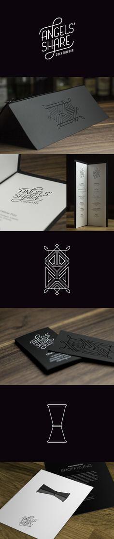 Logo, Lettering, Spot Gloss, White Digital Print, Black Paper, Opening, Menu, Drinks, Bar, Business Cards, Invite, Jigger, Angels' Share, Kleinbasel www.swiwi.me