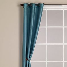 Aegean Blue Dupioni Grommet Curtain | World Market
