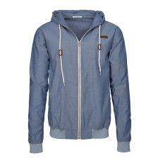 Leichte Collage-Jacke mit Kapuze aus Baumwolle Blue