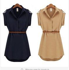 Chiffon Casual Shirt Mini Dress