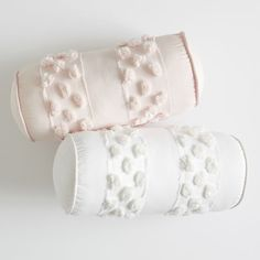Our Pretty Pom Bolster Pillow brings cozy chic to your sleep space. Playful pom-poms dot this supersoft pillow so you can support your back or neck in style! Bow Pillows, Velvet Pillows, Sewing Pillows, Kids Pillows, Felt Pillow, Bolster Pillow, Anchor Pillow, Pottery Barn Kids Backpack, Pillow Cover Design