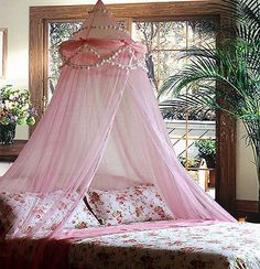 PINK RUFFLE POMPOM BED CANOPY MOSQUITO NET TWIN - QUEEN