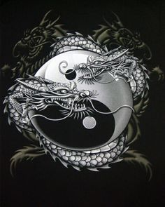 Chinese Dragon Yin-Yang T-shirt Dragon Tattoo Art, Dragon Artwork, Dragon Tattoo Designs, Dragon Yin Yang Tattoo, Celtic Dragon Tattoos, Ying Y Yang, Yin Yang Art, Yin Yang Tattoos, Yin Yang Designs
