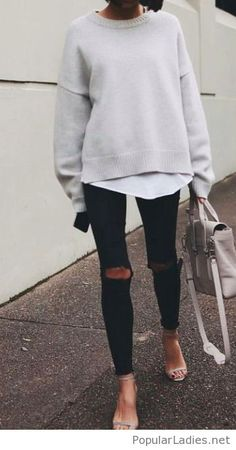 black-pants-and-grey-sweater-for-street