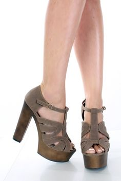 $12.99 taupe velvet 70s strappy platform heels