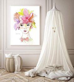 Watercolor Illustration, Watercolor Paintings, Original Paintings, Flower Blossom, Spring Girl, Gloss Matte, Flower Watercolor, Amazing Flowers, Girl Gifts