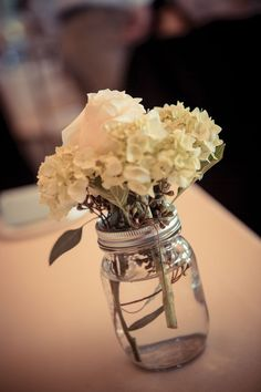 Mason Jar + Flowers = english-country-garden-wedding #OurWedding <3 #Weddingbells