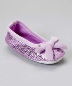 Look at this Purple Bow Sequin Plush Ballet Slipper on #zulily today!