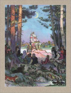 Karelian-Finnish epic Kalevala. Illustrator Nikolai Kochergin.