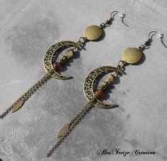Bijou Créateur - Boucles d'oreilles pendantes bronze Breloques croissant de lune Intercalaires antiques et perles semi-précieuses Botswana Agate : Boucles d'oreille par alextreize-creation
