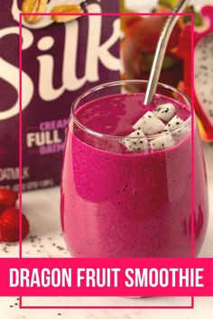 #ad Treat yourself to this plant-based, dairy-free drink made with frozen fruit and Silk® Extra Creamy Oatmilk. All you need is a blender, five ingredients, and five minutes to make this vibrant smoothie. Dragon Fruit Smoothie, Pumpkin Smoothie, Fruit Smoothie Recipes, Smoothie Bowl, Frozen Fruit, Frozen Banana, All You Need Is, Smoothie Without Banana, Pink Dragon Fruit