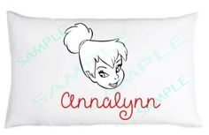 Color Your Own Pillowcase Tinkerbell  High Quality Heat Transferred Vinyl NEW