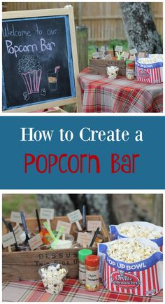How to Create a Popcorn Bar-great for birthday parties, block parties or even just family movie nights! Love the sweet and savory idea- but then you have to make choices... #popcornpartytime #ad