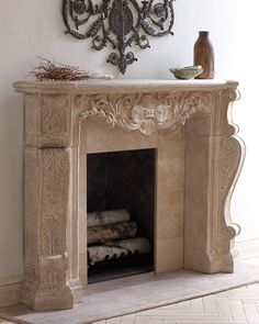 Stone Scroll Mantel Fireplace Screens, Fireplace Mantle, Fireplace Surrounds, Fireplace Design, Stone Mantel, Bedroom Fireplace, Fireplace Ideas, Cast Stone Fireplace, Fireplace Facade