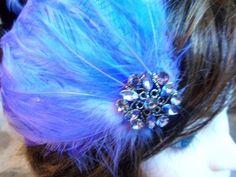 Handmade Lavender Purple Feather Rhinestone Hair Clip Flapper 20's Burlesque #Handmade