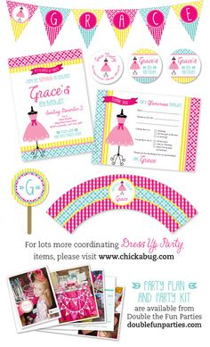 Dress up theme party  Set of 15 custom invitations  by Chickabug, $30.00
