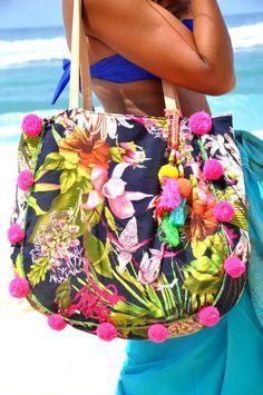 Beahc bolsas/Pom pom playa bolso borlas bolsa/Pom por JavaSpirit