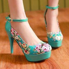 Lovely Flower Print High Heels, Cute High Heels, Women High Heels
