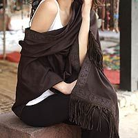 Wool and silk shawl, 'Chocolate Delight' by NOVICA