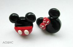 Mickey and Minnie Earrings - Handcrafted Polymer Clay Earrings - Disney Inspired - Sweet Couple Earrings - $5 plus 2 shipping